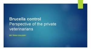 Brucella control Perspective of the private veterinarians DR