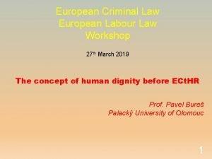 European Criminal Law European Labour Law Workshop 27