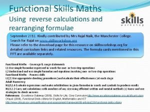 Functional Skills Maths Using reverse calculations and rearranging