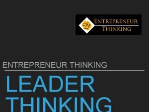 ENTREPRENEUR THINKING LEADER LEADER THINKING AIMS OBJECTIVES Aims