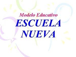 Modelo Educativo ESCUELA NUEVA ESCUELA NUEVA MODELO DIRIGIDO