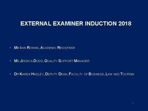 EXTERNAL EXAMINER INDUCTION 2018 MR IAIN ROWAN ACADEMIC