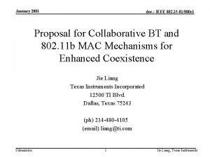 January 2001 doc IEEE 802 15 01080 r