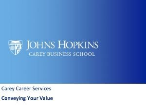 Carey Career Services Conveying Your Value Carey Career