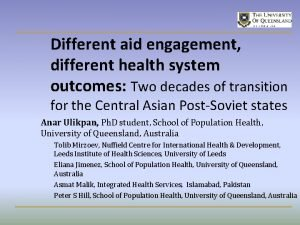Different aid engagement different health system outcomes Two