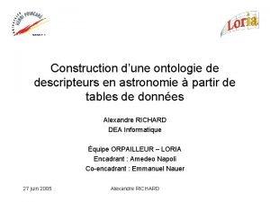 Construction dune ontologie de descripteurs en astronomie partir