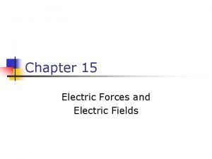 Chapter 15 Electric Forces and Electric Fields First