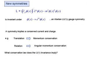 New symmetries Is invariant under an Abelian U1