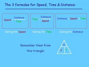 The 3 formulas for Speed Time Distance Distance