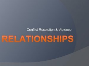 Conflict Resolution Violence Conflict Resolution Effective Communication I