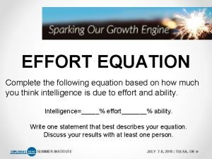EFFORT EQUATION Complete the following equation based on