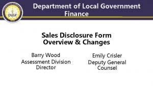 Department of Local Government Finance Sales Disclosure Form