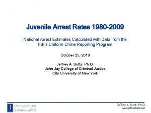 Juvenile Arrest Rates 1980 2009 National Arrest Estimates