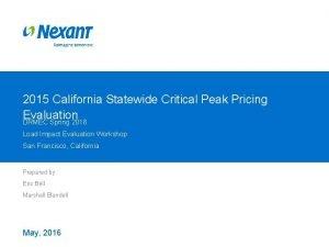 2015 California Statewide Critical Peak Pricing Evaluation DRMEC