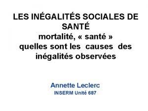 LES INGALITS SOCIALES DE SANT mortalit sant quelles
