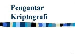 Pengantar Kriptografi 1 Terminologi Pesan data atau informasi