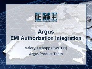 Argus EMI INFSORI261611 EMI Authorization Integration Valery Tschopp