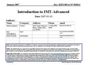 January 2007 doc IEEE 802 11 070202 r
