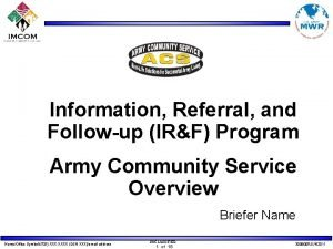 Information Referral and Followup IRF Program Army Community