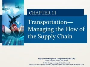 CHAPTER 11 Transportation Managing the Flow of the