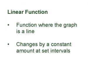 Linear Function Function where the graph is a