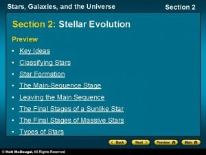 Stars Galaxies and the Universe Section 2 Stellar