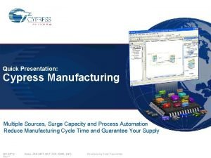 Quick Presentation Cypress Manufacturing Multiple Sources Surge Capacity