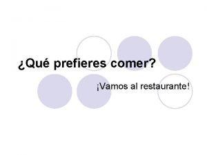 Qu prefieres comer Vamos al restaurante Qu prefieres