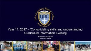 Year 11 2017 Consolidating skills and understanding Curriculum