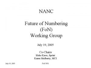 NANC Future of Numbering Fo N Working Group