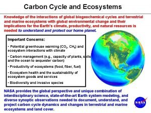 Carbon Cycle and Ecosystems Knowledge of the interactions