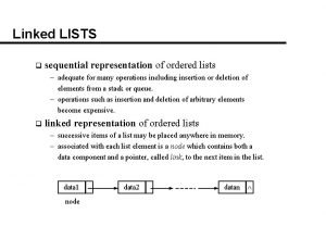 Linked LISTS q sequential representation of ordered lists