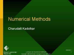 Numerical Methods Charudatt Kadolkar Lectures on Numerical Methods