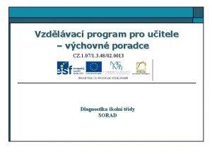 Vzdlvac program pro uitele vchovn poradce CZ 1