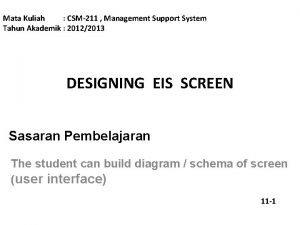 Mata Kuliah CSM211 Management Support System Tahun Akademik
