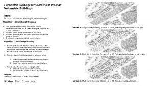 Parametric Buildings for NordWestWeimar Volumetric Buildings Inputs Plots