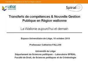 Transfert de Comptences et NGP en Rgion wallonne