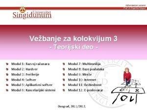 Informacioni sistemi Prof dr Angelina Njegu Vebanje za