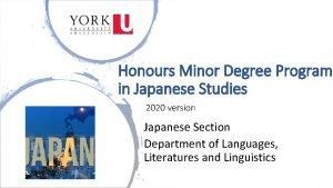 Honours Minor Degree Program in Japanese Studies 2020