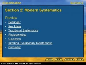 Classification Section 2 Modern Systematics Preview Bellringer Key
