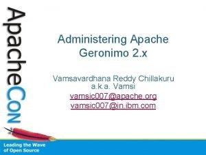 Administering Apache Geronimo 2 x Vamsavardhana Reddy Chillakuru