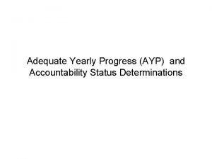 Adequate Yearly Progress AYP and Accountability Status Determinations