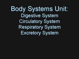 Body Systems Unit Digestive System Circulatory System Respiratory