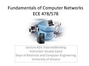 Fundamentals of Computer Networks ECE 478578 Lecture 14