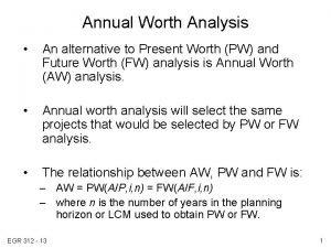 Annual Worth Analysis An alternative to Present Worth