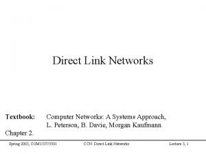 Direct Link Networks Textbook Computer Networks A Systems