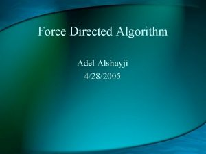 Force Directed Algorithm Adel Alshayji 4282005 What is