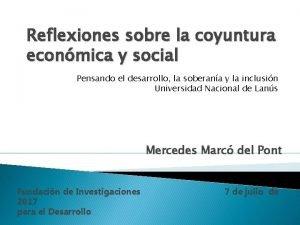 Reflexiones sobre la coyuntura econmica y social Pensando