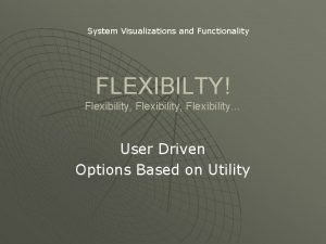 System Visualizations and Functionality FLEXIBILTY Flexibility Flexibility User