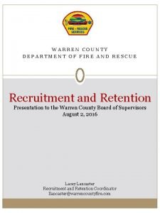 WARREN COUNTY DEPARTMENT OF FIRE AND RESCUE Recruitment
